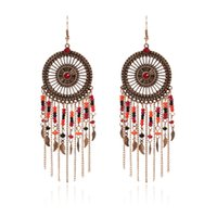 Wholesale new punk earrings for sale - Group buy Baroque Tassel Earring Punk Exaggerated Earrings With Long Chain Bead Retro Boutique Wholesales Fashion Jewelry Cheap New