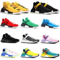 lazos de crema al por mayor-2019 adidas Yeezy Human Race Zapatillas de running para hombre Pharrell Williams de muestra Amarillo Núcleo Negro Diseñador de calzado deportivo Zapatillas para mujer 36-45