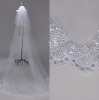 Wholesale veil flower lace edge for sale - Group buy 3M two Layer Lace Edge with sequins White Ivory Cathedral Wedding Veil Long Bridal Veils Cheap Wedding Accessories Veu de Noiva CPA1383
