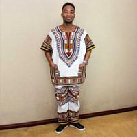 ingrosso corti cinesi scarni-Nigeria Tuta Pantalone bianco verde Due colori unisex Dashiki casuale i vestiti di cotone africani
