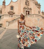 mais tamanho vestido branco boêmio venda por atacado-Plus Size 3XL 2019 Mulheres Verão Bohemian Praia Imprimir Vestido de Festa Sexy Noite Elegante Maxi Vestido Branco