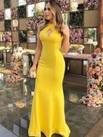 halter de seda sexy al por mayor-Vestidos de noche amarillos para mujeres Halter Seda elástica como satén Vestido de baile Nuevo estilo de baile Vestidos de noche