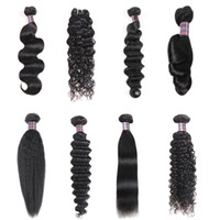 Wholesale brazilian natural curly hair weave blonde online - Cheap Bundles inch Deep Loose Brazilian Human Hair Loose Wave Yaki Straight Deep Curly Body Water Wave Straight Color B Black