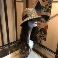 sombreros de pescadores al por mayor-Stingy Brim Sombreros Moda Pescador Ocio Bucket Hats Carta Bordado Hombres Mujeres Viajes Top Wide Brim Verano Sombreros de diseñador al aire libre