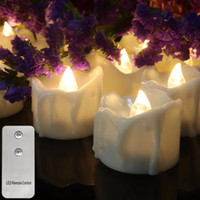 Wholesale holiday flameless candles resale online - Pack of Flickering Remote Control Candles For Valentine s Day Decoration Electric Flameless Tealights Warm white or Yellow Y200531