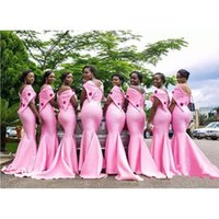 vestidos de flor de coral venda por atacado-Africano Rosa Longo Mermiad Vestidos de Dama de Honra 2019 Novo Fora Do Ombro Até O Chão Flores Formais Vestidos de Casamento Do Partido Vestido Da Dama de honra