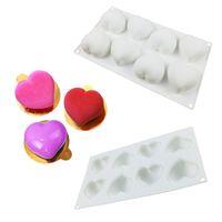 pasta için kalp kalıpları toptan satış-Silikon Kalp Kek Dekorasyon Pişirme Araçları Çikolata 3D Kalıp Kek Bakeware Kalıpları Çikolata Yapımı Tatlılar Kalıpları Pan El Yapımı Kalıp