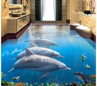 Wholesale underwater 3d mural waterproof wallpapers fireproof for sale - Group buy WDBH d pvc flooring custom photo Dolphin swimming underwater world Self adhesive floor home decor d wall murals wallpaper for living room