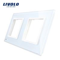 sockets de gafas al por mayor-Livolo Luxury White Pearl Crystal Glass, interruptor suave al tacto estándar de la UE, panel de vidrio doble para pared SwitchSocket