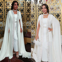 Wholesale moroccan evening wear resale online - Dubai Muslim Evening Dresses White Sequins moroccan Kaftan Chiffon Cape Prom Special Occasion Gowns Arabic Long Sleeve Dress Evening Wear