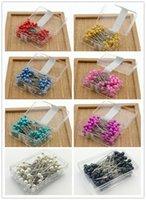 ingrosso perni di corallo perla-100 pezzi per scatola Perla rotonda Testa per perni Matrimoni Corsage Fioristi Perno da cucito con accessori per scatole