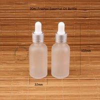 ingrosso cosmetici smerigliati-30ml di vetro Bottiglia di olio essenziale contagocce Frosted Pot 1OZ Donne contenitore cosmetico 30 grammi SampleTest Jar