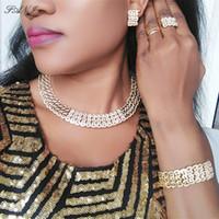 conjunto de joyería de perlas africanas boda nigeriana al por mayor-Fani Exquisite Dubai Gold Jewelry Set Marca Nigerian Wedding woman accesorios conjunto de joyas African Beads Bridal