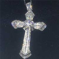 pendentifs croix hommes argent 925 achat en gros de-Luxe Grand Croix pendentif Avec collier en argent Sterling 925 5A zircon Cz Parti De Mariage Pendentifs pour les femmes hommes Bijoux