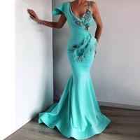 Wholesale plus size arabic dresses resale online - Turquoise Spaghetti Evening Dresses Mermaid V neck Feather Crystals Islamic Dubai Saudi Arabic Long Formal Prom Gowns