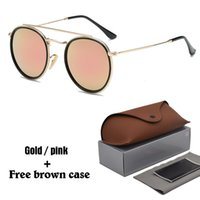 Wholesale sunglasses for hot sun for sale - Group buy Hot Classic sunglasses for women metal frame double Bridge sun glasses Steampunk Goggle Colors With free brown cases and box