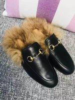 sapatos de senhora de luxo venda por atacado-2019 Outono E Inverno Das Senhoras Sapatos Casuais mula de pele de luxo chinelos de couro das senhoras sapatos de camurça plana mula sapatos de amor sapatos de moda chinelos 44
