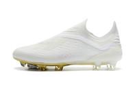 grampos originais do futebol para homens venda por atacado-Ouro branco Messi Original Futebol Botas Laceless X 18 + FG Homens Sapatos de Futebol Pogba chapeamento solas Ao Ar Livre Melhor Futebol Qaulity Chuteiras