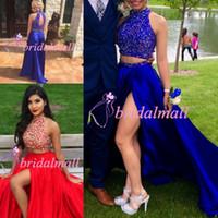 elmas yaka gece elbiseleri toptan satış-Boncuklu Saten Kraliyet Mavi İki Adet Gelinlik 2019 Seksi Yan Yarık Mezuniyet Homecoming Elbise Ucuz Rhinestones Yaka Örgün Abiye giyim