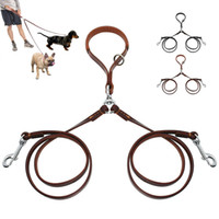 Wholesale way small for sale - Group buy 2 Ways Dog Leash Double Two Pet Leather Leads NoTangle Coupler with Handle for Walking and Training Small Medium Dogs