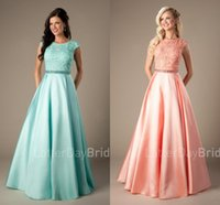 Wholesale prom dresses mint green modest resale online - Modest Coral Prom Dresses Long Lace Satin Cap Sleeves A line Beaded Elegant Beaded Girls Formal Mint Evening Party Dresses Cheap