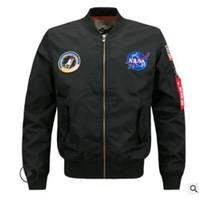 chaqueta de béisbol envío gratis al por mayor-Envío gratis estilista de moda NASA MA1 uniforme de béisbol de los hombres Stand Collar bordado prendas de vestir exteriores chaqueta de hip hop más el tamaño M-6XL