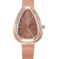 капли для воды оптовых-New Ladies Quartz Watch Creative Water Drop With Rhinestone Case Stainless Steel Strap Ladies Watch
