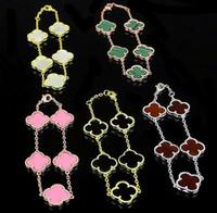 titan charme armbänder großhandel-Europäische und amerikanische Klee-Muschelblume 5 Blumenarmband 18K Gold Armband Schwarz und Weiß Rot Rosa Grün Fünf Blumenarmband