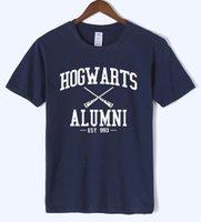 mais tamanho novidade t shirts venda por atacado-Hogwarts Alumni T Shirt Das Mulheres Dos Homens Harry Engraçado Potter Camisetas Nova Novidade Designer de Manga Curta O Pescoço Camisetas de Algodão Plus Size