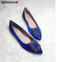 Wholesale dancing shoes green resale online - Ladies Cheap Flats Silk Stain Pointed Toe Diamond Slip on Soft Dancing Shoes Spring Breathable Mujer Plus Size Royal Blue LY191202