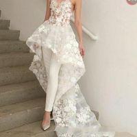 zuhair murad lace sweetheart venda por atacado-New Sexy boêmio branco macacões vestido de noiva longo trem 2019 Zuhair Murad querida Lace 3D Floral apliques vestido de noiva de noiva BC1820