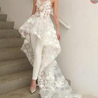 zuhair murad lace long al por mayor-Nuevo vestido de boda del mono largo bohemio sexy vestido largo 2019 Zuhair Murad amor del cordón 3D apliques florales vestido de boda nupcial BC1820