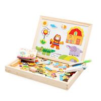 ingrosso costruire la casa di carta-1Pcs Giocattoli per bambini Puzzle magnetici per bambini Ragazze Ragazzi Apprendimento Educazione Giocattoli in legno 3d Puzzle Animali Tavolo da disegno come regali