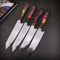 facas de cozinha damasco japonês venda por atacado-Damascus Steel Chef faca japonesa Santoku Utility facas afiadas Cleaver Slicing Steak Kitchen Ferramenta Faca estabilizada punho de madeira