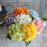 ipek zencefil yapay çiçekler toptan satış-Yapay Ortanca Çiçek Baş 47cm Sahte İpek Tek Gerçek Dokunmatik Hydrangeas Düğün Centerpieces Ev Partisi Dekoratif Çiçek 8 Renkler