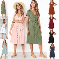 düşen boyun elbisesi toptan satış-2019 Yaz Avrupa Amerikan Elbise Güz Kadın Etek Rahat Elbiseler Bayanlar Düğme Cep V Boyun Bağları Kısa Kollu Tek parça Elbise