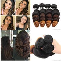 tipos de ondas de pelo al por mayor-YAHLIGS Gradient Color Real Human Hair 3 unids / 4 unids Brasileño Body Wave Hair de tres colores Suelta Wave Hair para cualquier tipo de cara J28