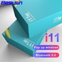 auriculares de llamada al por mayor-Los auriculares Bluetooth Bestsin i11 TWS Biaural Call V5.0 admiten la función táctil con la caja de carga para teléfonos inteligentes