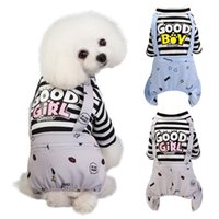 Wholesale dog rompers resale online - Pet Dog Stripes Rompers Puppy Jumpsuit Cotton Dog Clothes Costume Spring Summer Clothing For Dogs Ropa Para Perros