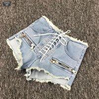 graue kordelzugshorts großhandel-Sommer-neue Art und Weise Reißverschluss-reizvolle hohe Taille Zu Weibliches Blau Schwarz Grau College Style Lace Up koreanische Denim Shorts L215