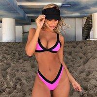 amerika sexy bikini großhandel-neuer nähender bikini einfarbig weiblicher badeanzug Europa und Amerika sexy badeanzug split beach Womens bikini badeanzüge bademode