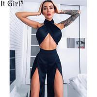 шелковые атласные штаны оптовых-Satin Silk Sexy 2piece Black Crop Top Split Wide Leg Pants Set Club Outfit Matching Sets For Women Overall Set Z112