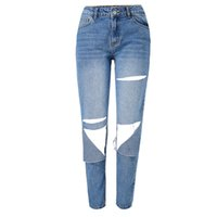 ingrosso fidanzate jeans grossi buchi-Jeans da donna stile jeans boyfriend allentati jeans da donna 2018 Fashion Big Hole Vintage Sexy Straight Blue