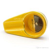 puro gadget'ları hediye toptan satış-COHIBA Puro Araçlar Seramik Puro Küllük Tek Puro Tutucu Yuvarlak Kül Yuvası 4 Renkler Sarı Tütün Sigara Küllük Hediye Kutusu