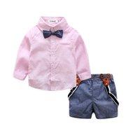 lindos pantalones cortos de color caramelo al por mayor-Cute Toddler Baby Boys Trajes de caballero de color caramelo Camisas y pantalones cortos en general Pantalones 2 unids Conjuntos de moda de verano Ropa de bebé