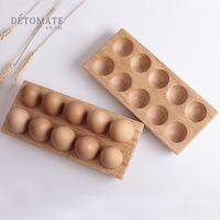 kauçuk yumurtaları toptan satış-Paskalya Kauçuk Ahşap Yumurta Tepsi Çift Sıra Katı Ahşap Etli Bitkiler Tepsiler Saksı Aşınmaya Dayanıklı Kırılmaz Araçları Yaratıcı 26