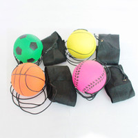 Wholesale toy bouncy balls online - Random more Style Fun Toys Bouncy Fluorescent Rubber Ball Wrist Band Ball Board Game Funny Elastic Ball Training Antistress lol
