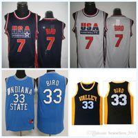 ingrosso pullover di basket usa-Maglietta da uomo INDIANA State Jersey di alta qualità NCAA College Stitched Shirt 1992 Dream Team USA 33 Larry Bird 7 Larry Bird Maglie da basket Mo