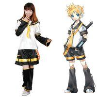 traje de kagamine al por mayor-Anime Hatsune Miku Kagamine Len cosplay Vocaloid Traje de marinero del uniforme escolar del sistema completo (tamaño asiático)