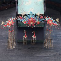 Wholesale chinese bride hair online - JaneVini Traditional Chinese Style Bridal Blue Phoenix Hairpins with Earrings Ancient Bride Headwear Beaded Wedding Jewelry Hair Accessories